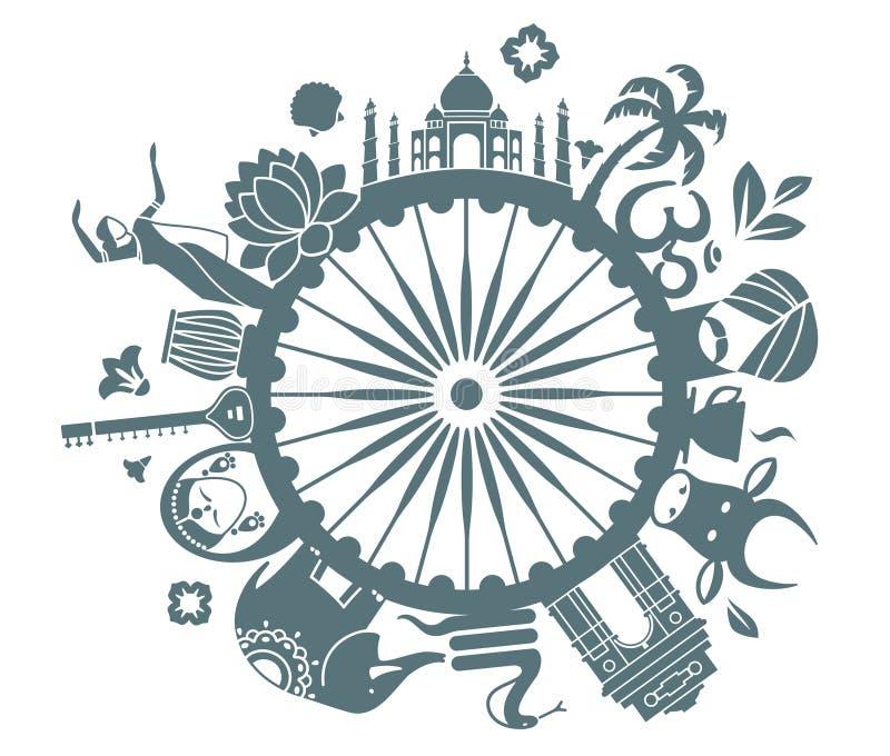 Symbolen van India royalty-vrije illustratie