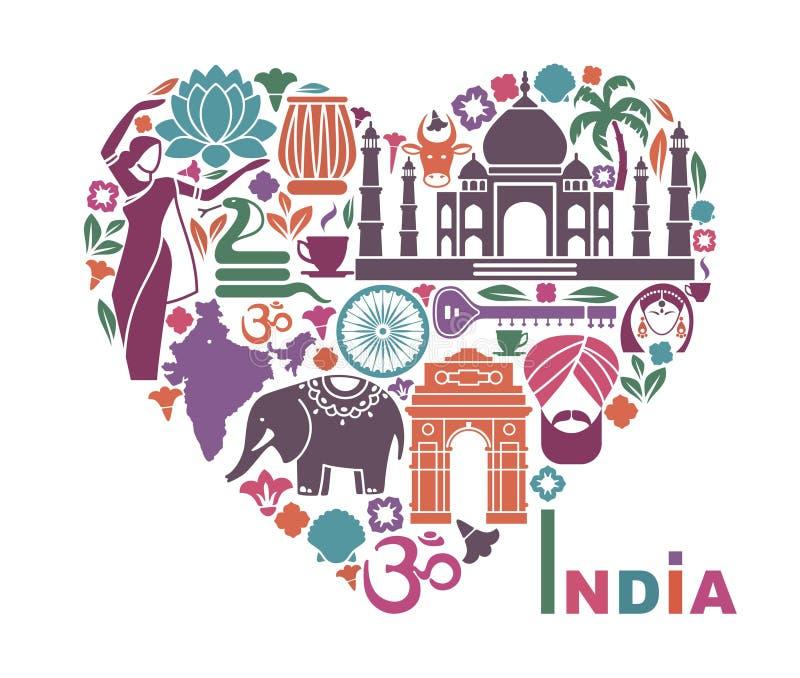 Symbolen van India in de vorm van hart stock illustratie