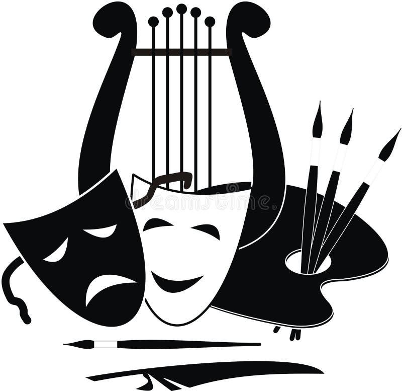 Symbolen van kunsten, muziek. en theater stock illustratie