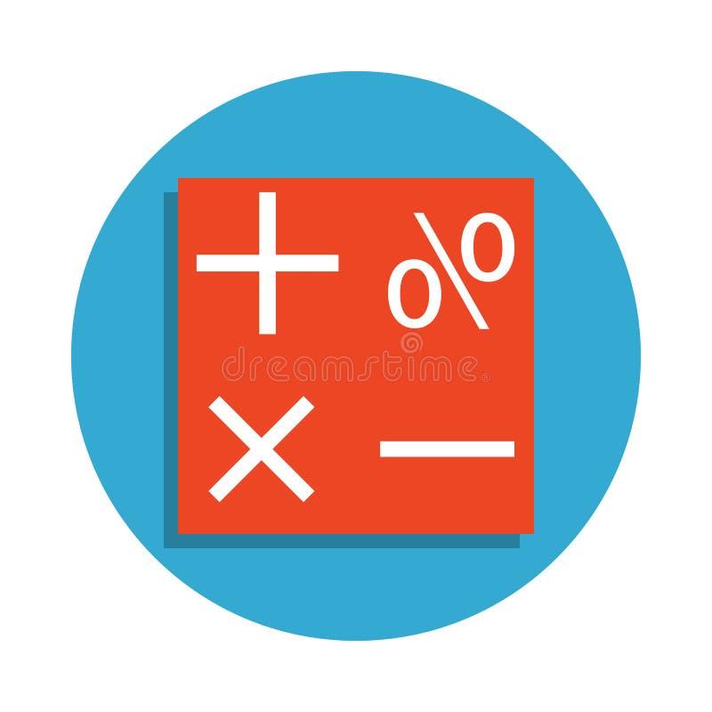 symbolen van wiskunde in blauw kentekenpictogram dat worden gekleurd Element van schoolpictogram voor mobiel concept en Web apps  stock illustratie
