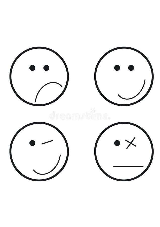 Symbolen vier verschillende gezichten stock illustratie
