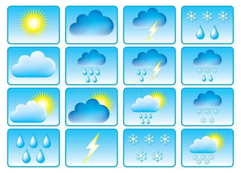 Symbolen voor weer. vector illustratie