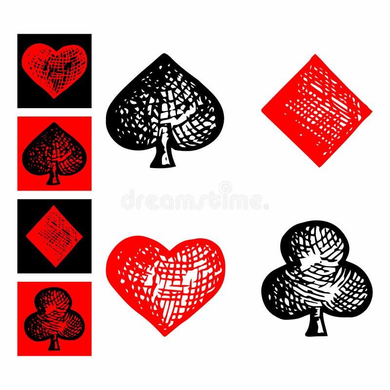 Symbolenspeelkaarten, kostuumpictogram royalty-vrije illustratie