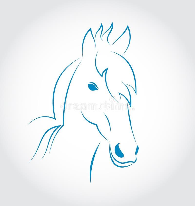 Symbolentwurfs-Kopfpferd auf weißem Hintergrund