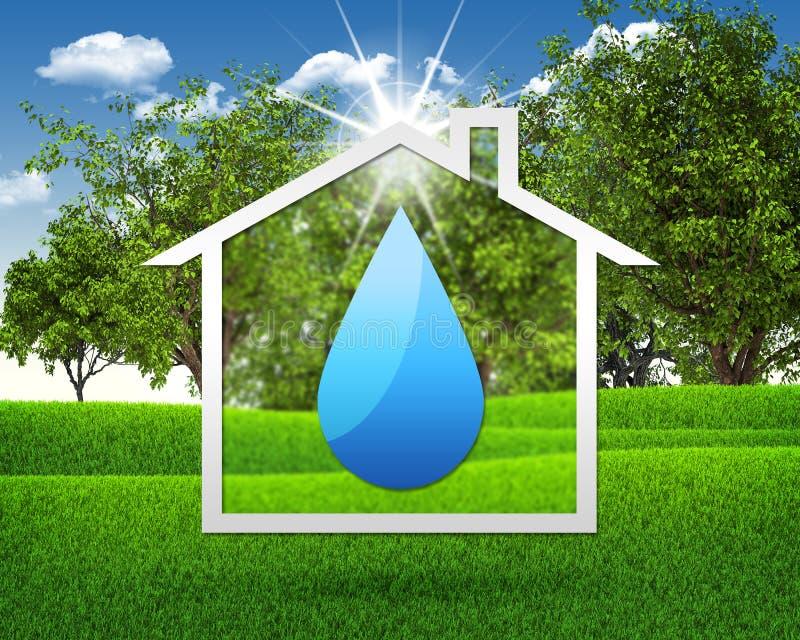 Symbolenwater en huis royalty-vrije illustratie