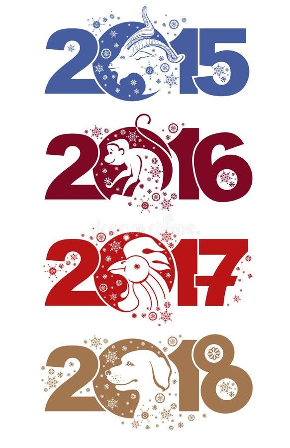 Symboler av åren på den kinesiska kalendern stock illustrationer