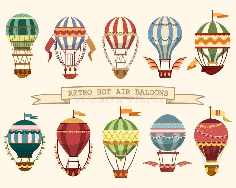 Symboler av ballonger för varm luft för tappning med flaggor stock illustrationer