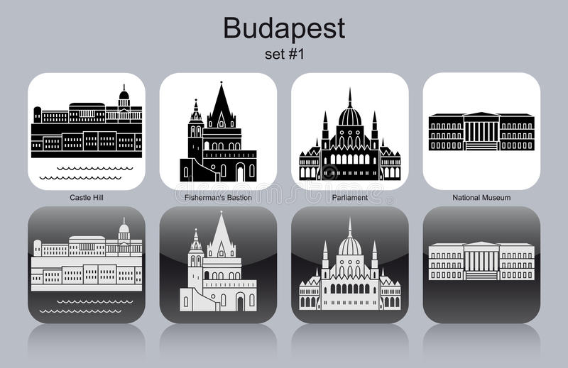 Symboler av Budapest stock illustrationer
