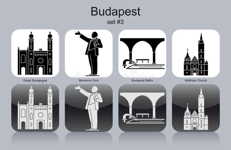 Symboler av Budapest stock illustrationer
