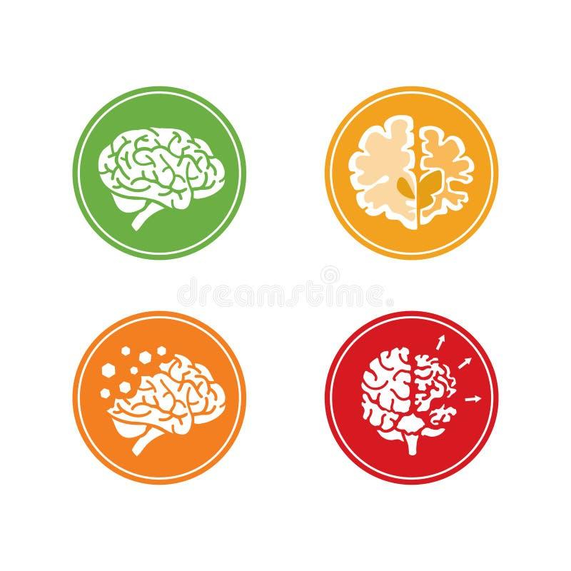 Symboler av demens och andra mentala problem vektor illustrationer