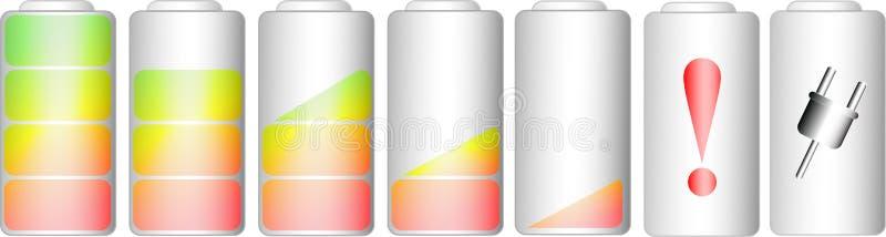 Symboler av den jämna indikatorn för batteri stock illustrationer