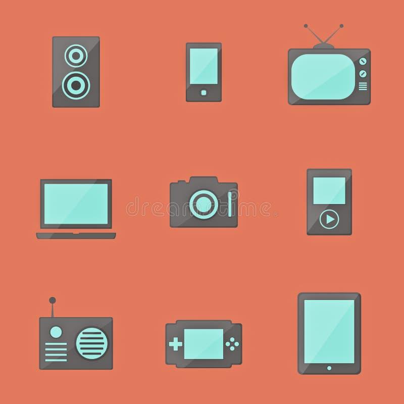 Symboler av elektronik vektor illustrationer