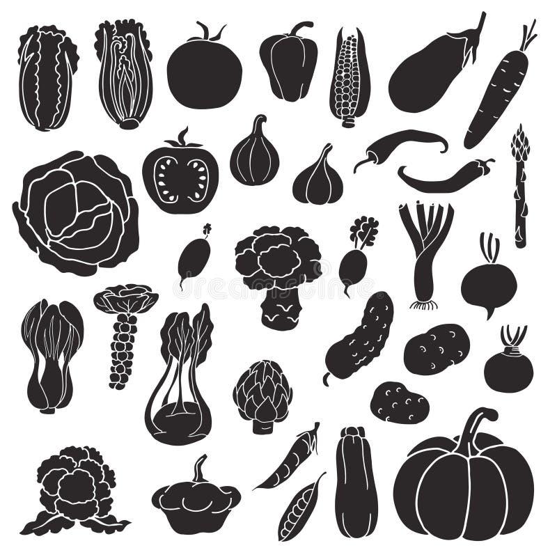 Symboler av grönsaker vektor illustrationer