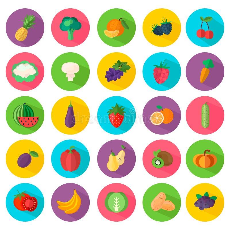 Symboler av grönsaker och frukt i plan stil vektor illustrationer