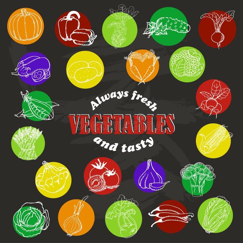 Symboler av grönsaker skissar in stil på mörk bakgrund royaltyfri illustrationer