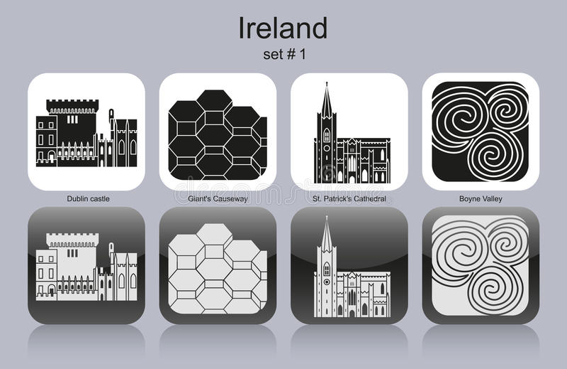 Symboler av Irland stock illustrationer