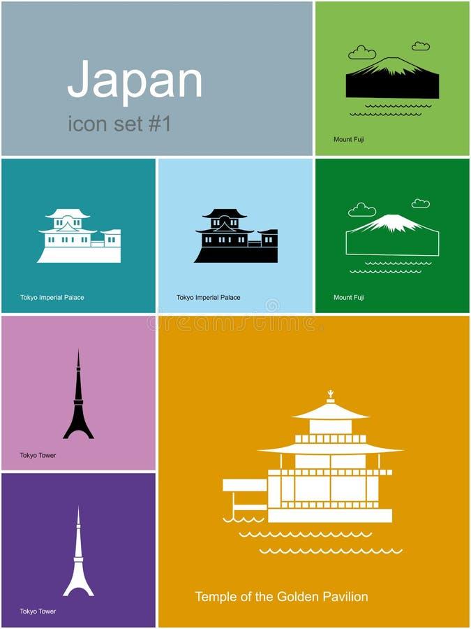 Symboler av Japan vektor illustrationer