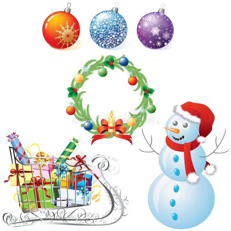 Symboler av jul royaltyfri illustrationer