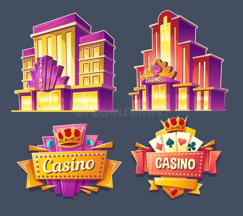 Symboler av kasinobyggnader och retro skyltar stock illustrationer