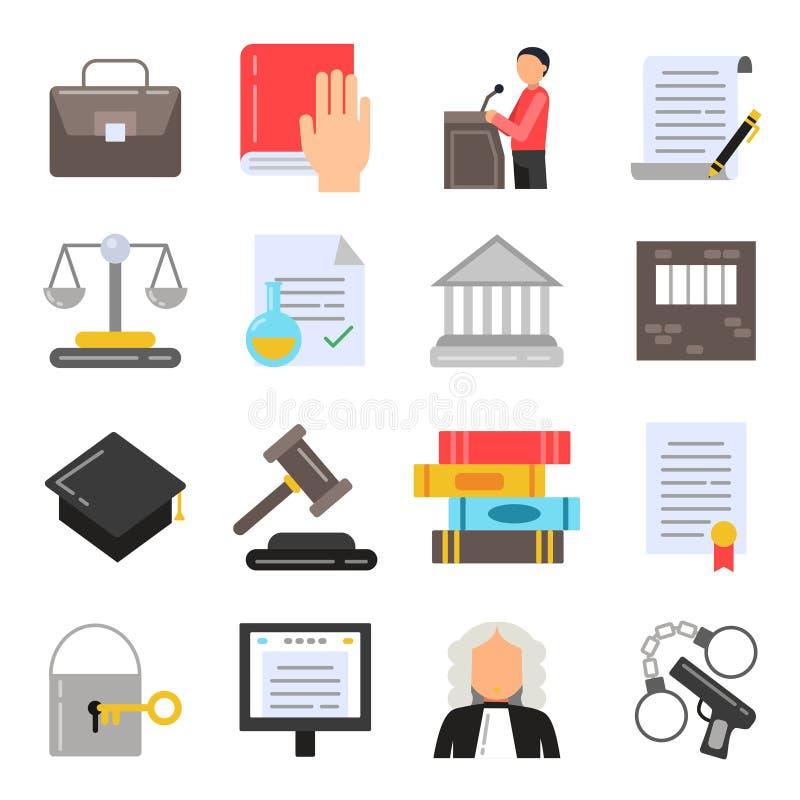 Symboler av laglig reglemente Juridisk symbolsuppsättning i plan stil royaltyfri illustrationer