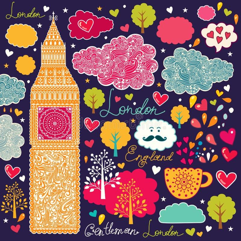 Symboler av London royaltyfri illustrationer