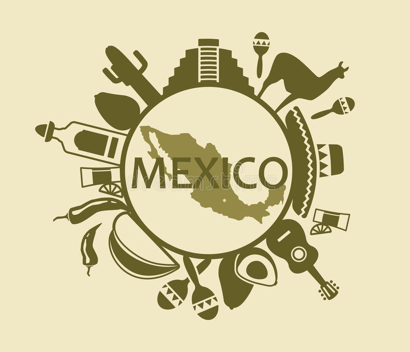 Symboler av Mexico royaltyfri illustrationer