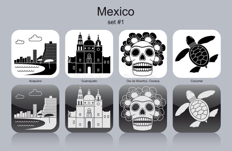 Symboler av Mexico stock illustrationer