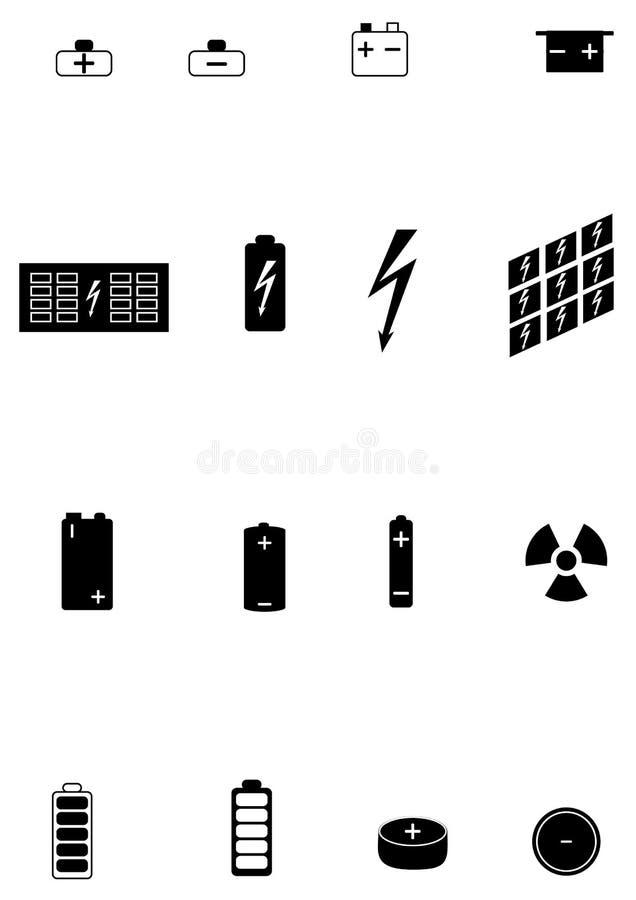 Symboler av olika typer av elektriska batterier arkivbild