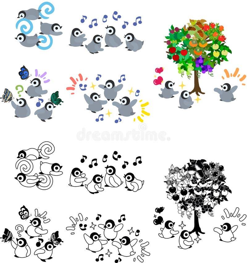 Symboler av pingvinet behandla som ett barn royaltyfri illustrationer