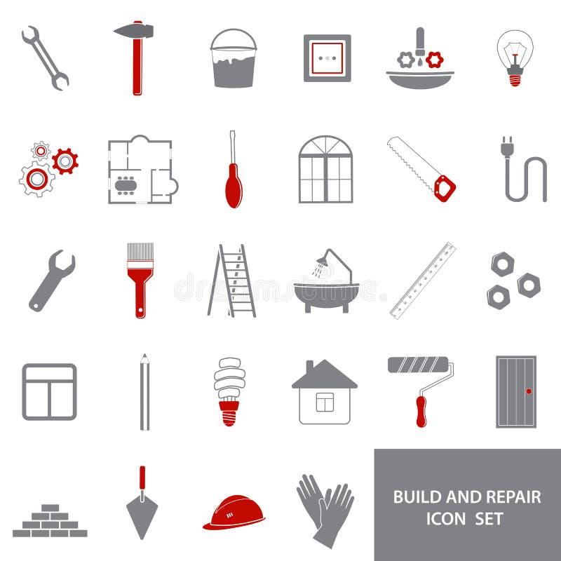 Symboler av reparationshjälpmedel vektor illustrationer