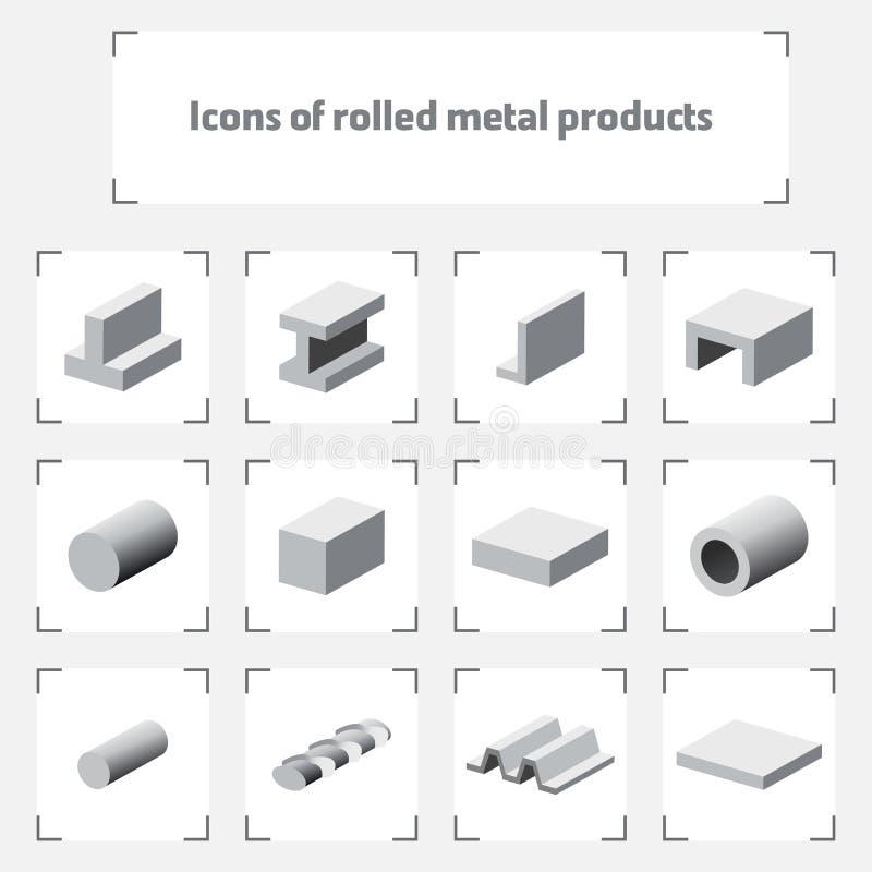 Symboler av rullande metallprodukter stock illustrationer