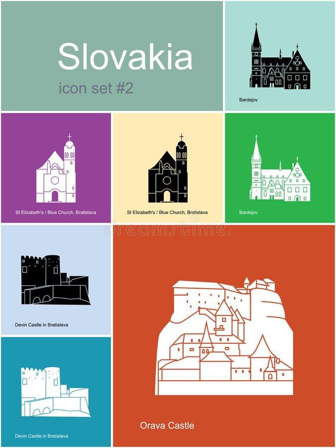 Symboler av Slovakien stock illustrationer