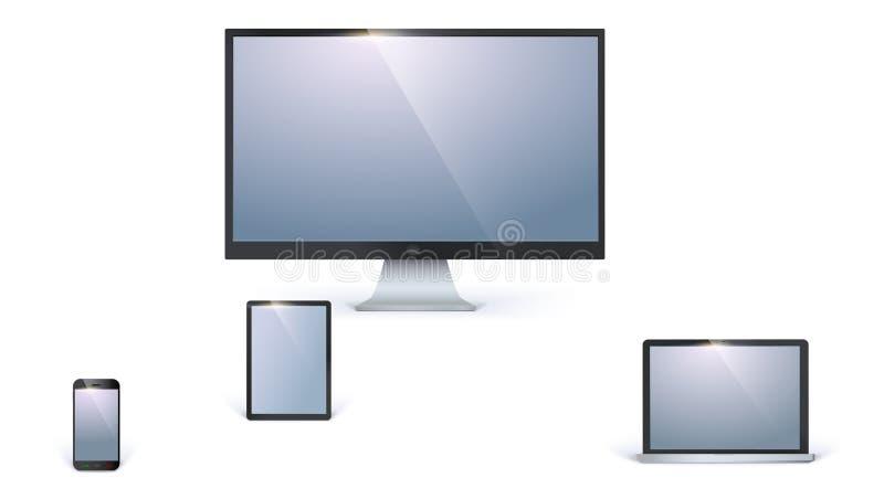 Symboler av tomma elektroniska apparater med vita skärmar som isoleras på vit bakgrund Bildskärm för skrivbords- dator som öppnas vektor illustrationer