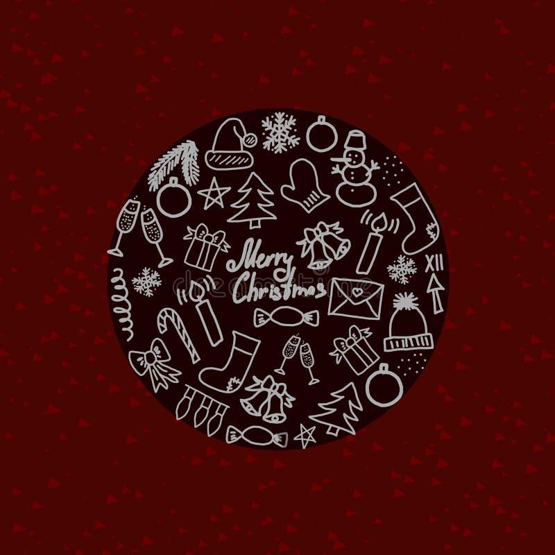 Symboler av traditionella julattribut på röd rund illustration för bakgrund 3D stock illustrationer
