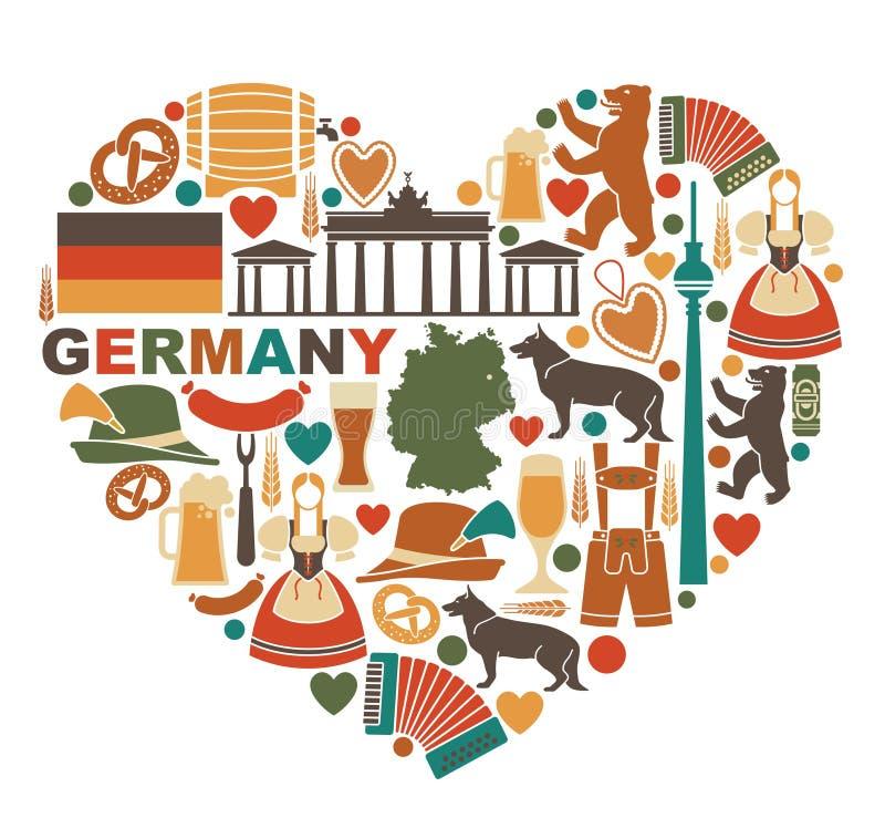 Symboler av Tyskland i hjärtaform royaltyfri illustrationer