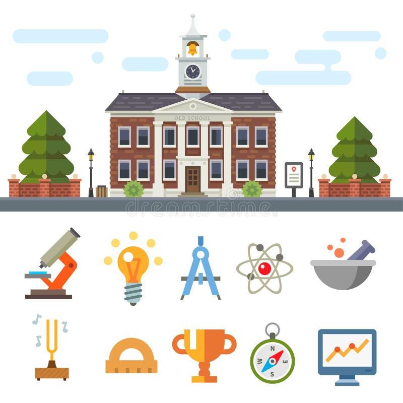 Symboler av utbildning och vetenskap royaltyfri illustrationer