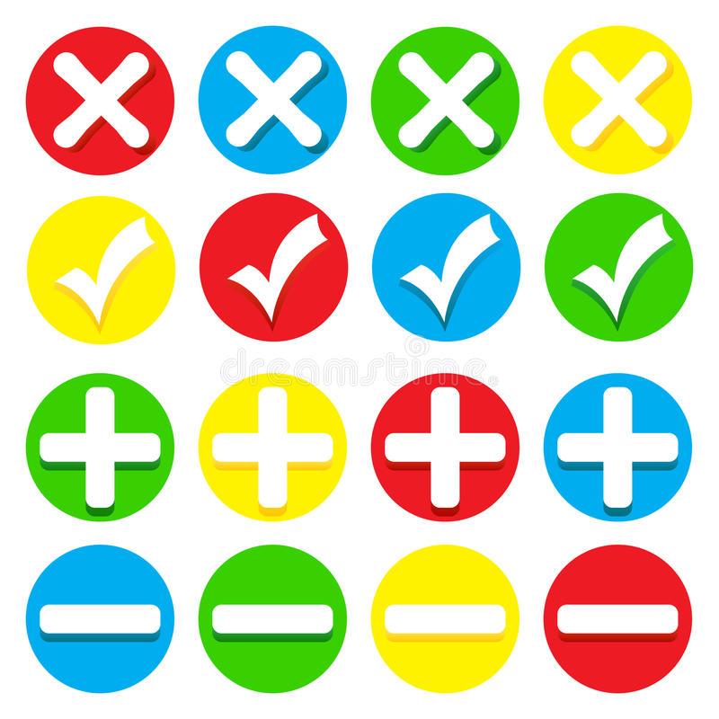 Symboler - checkmarks, kors, pluses och minus vektor illustrationer