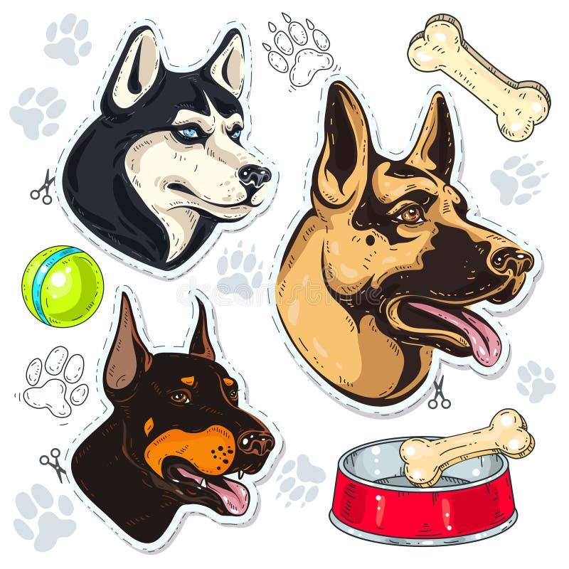 Symboler färgade hunden, herden, skrovligt, dobermanen och en bunke av benet stock illustrationer