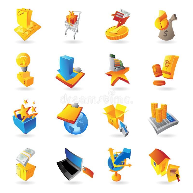 Symboler för återförsäljnings- kommers stock illustrationer