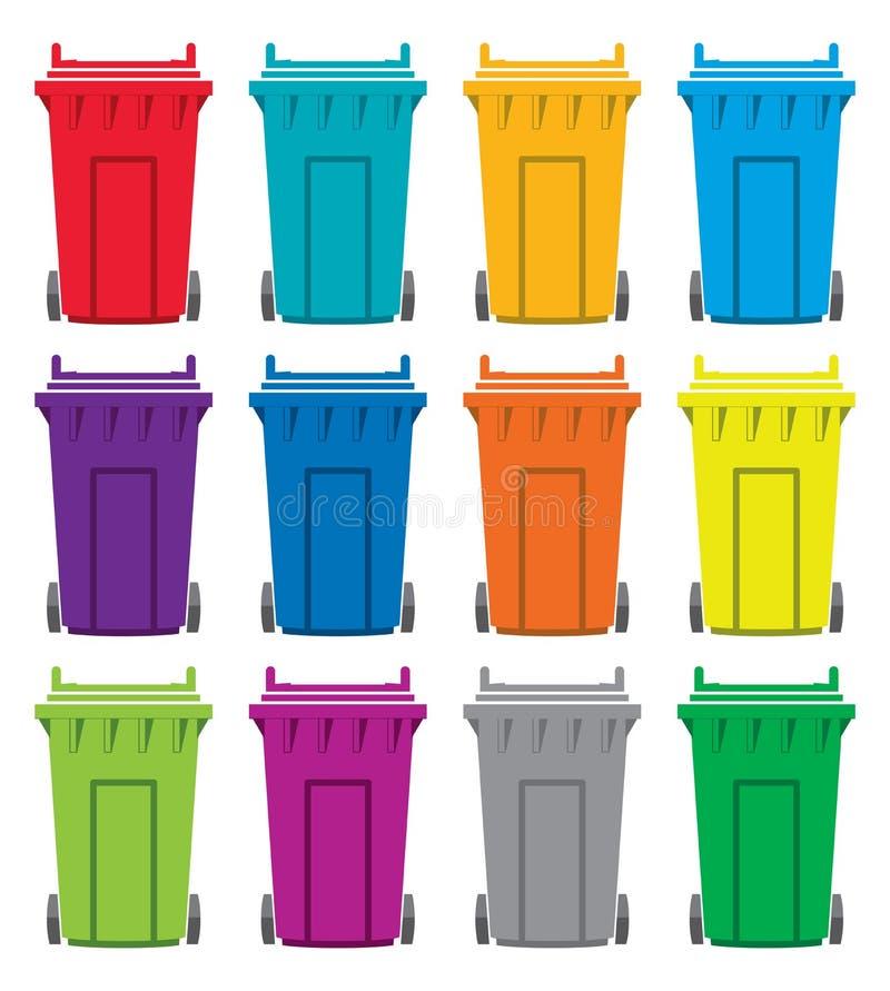 Symboler för återvinningwheeliefack royaltyfri illustrationer