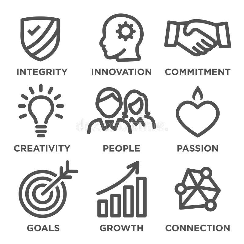 Symboler för översikt för företagskärnavärden stock illustrationer