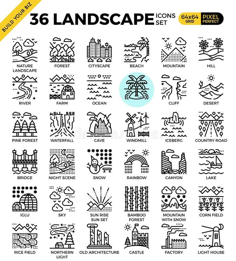 Symboler för översikt för naturlandskapPIXEL perfekta stock illustrationer