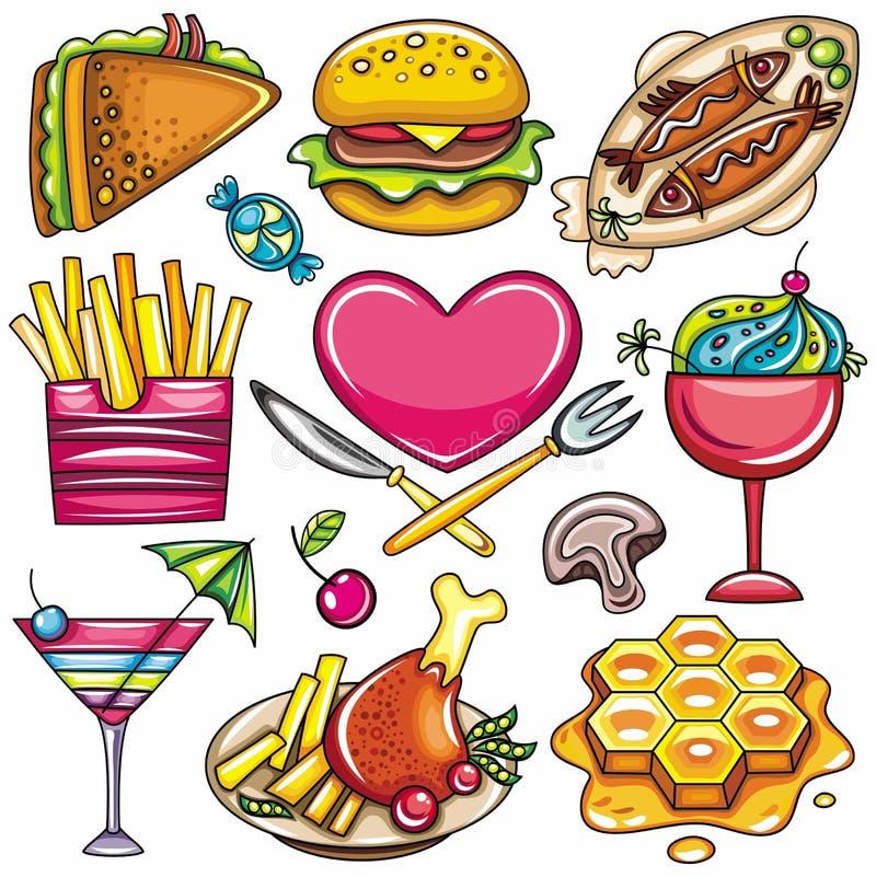 symboler för 1 färgrika mat royaltyfri illustrationer