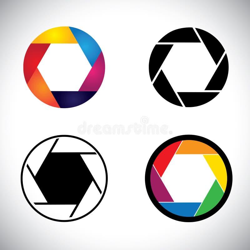 Symboler för abstrakt begrepp för öppning för slutare för kameralins - vektordiagram vektor illustrationer