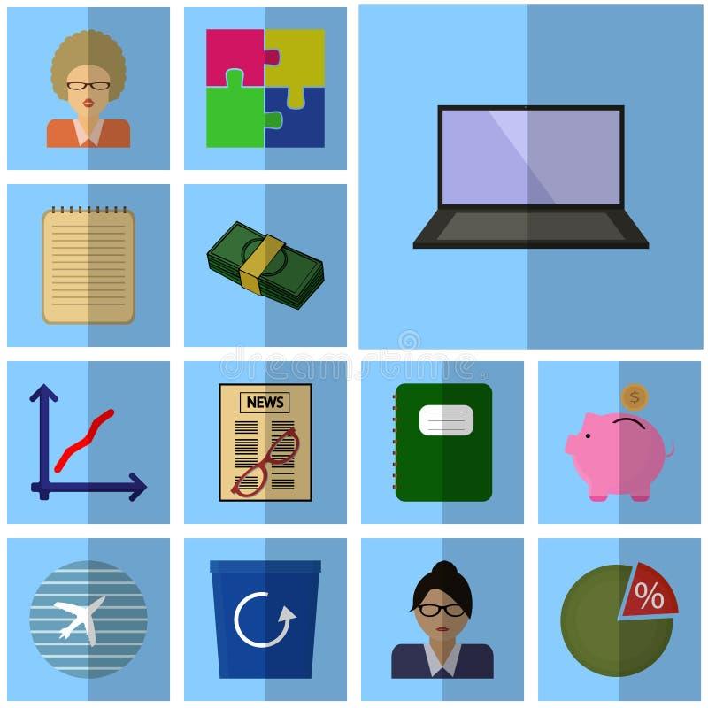 Symboler för affär för symboler för lägenhet för vektorsymbolsaffär ställde in affärssymbolsbärbara datorn, dator, vektor illustrationer