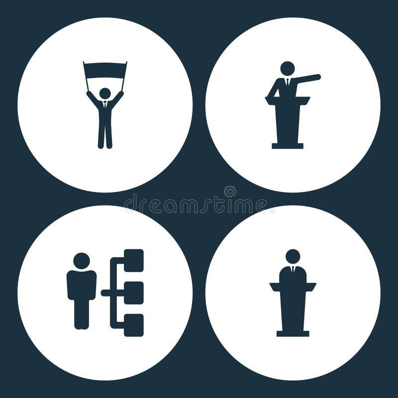 Symboler för affär för vektorillustrationuppsättning Beståndsdelaffärsmannen med affischen, högtalaremannen, företagsstrukturen o royaltyfri illustrationer
