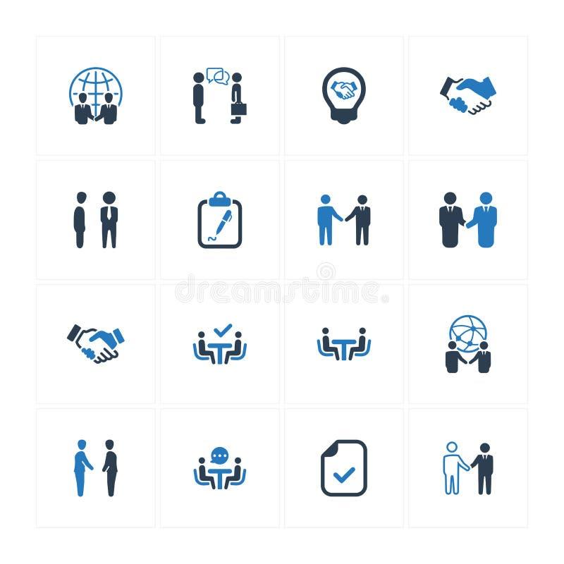 Symboler för affärsavtal - blå version royaltyfri illustrationer