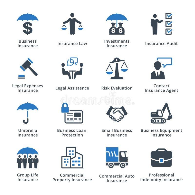 Symboler för affärsförsäkring - blå serie stock illustrationer