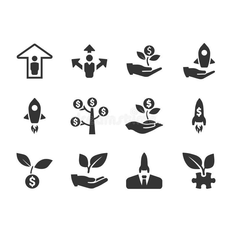 Symboler för affärsstart - Gray Version royaltyfri illustrationer