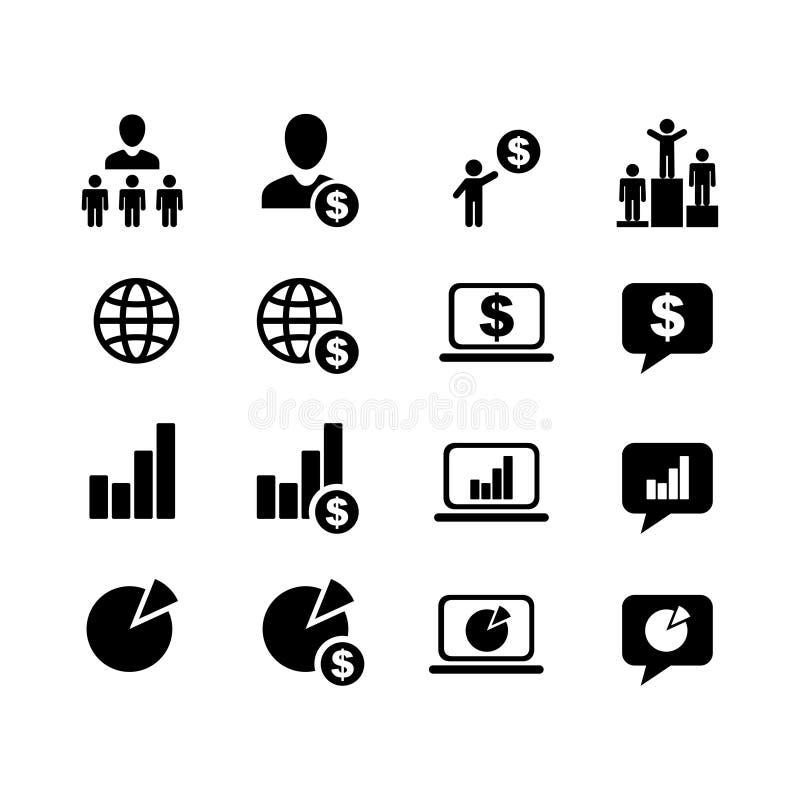 Symboler för affärsuppsättning 16 stock illustrationer